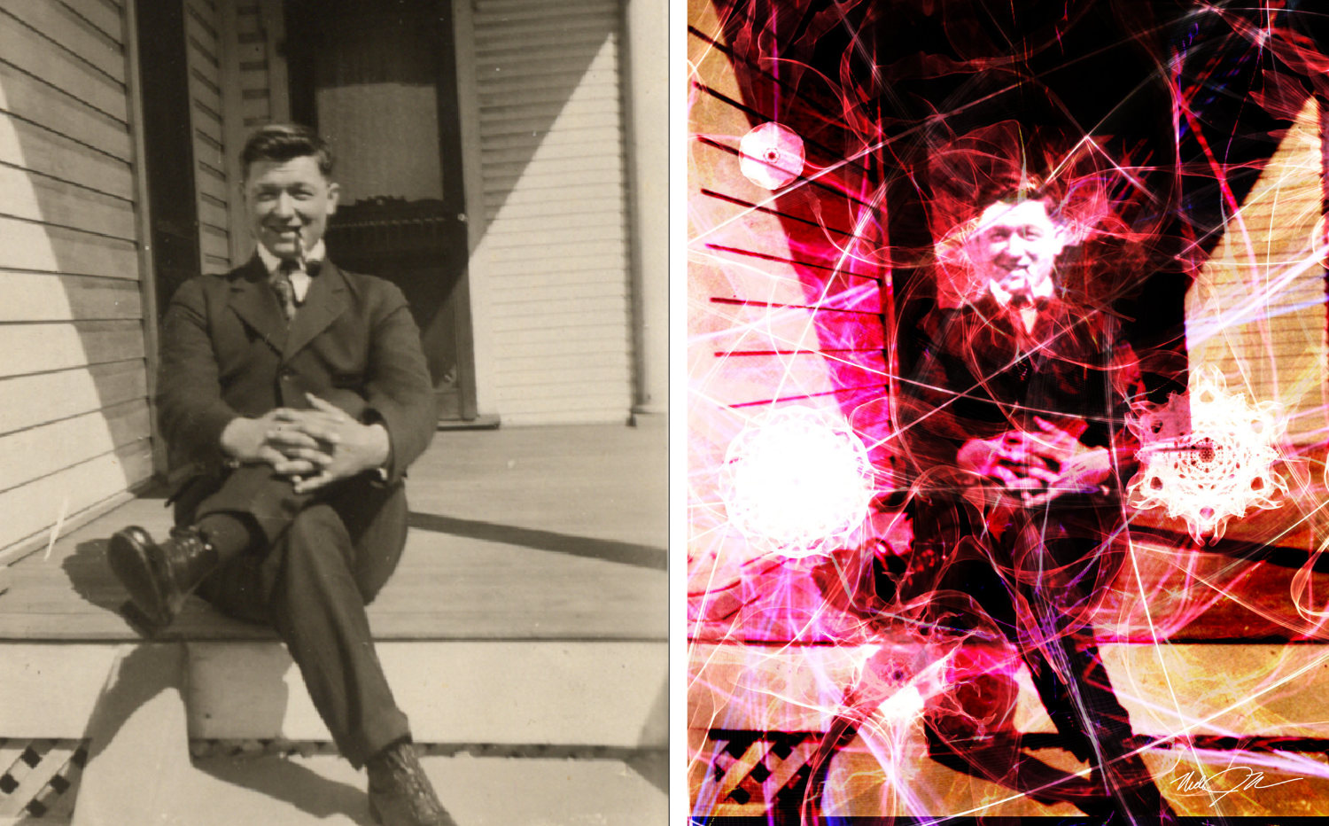 A photo of my mom's father transformed into a Fractal Portrait!