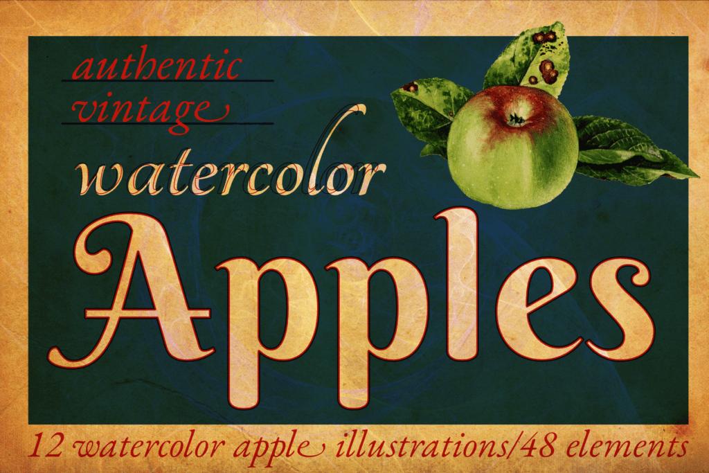 Authentic Vintage Watercolor Apples Vol. 1 Cover