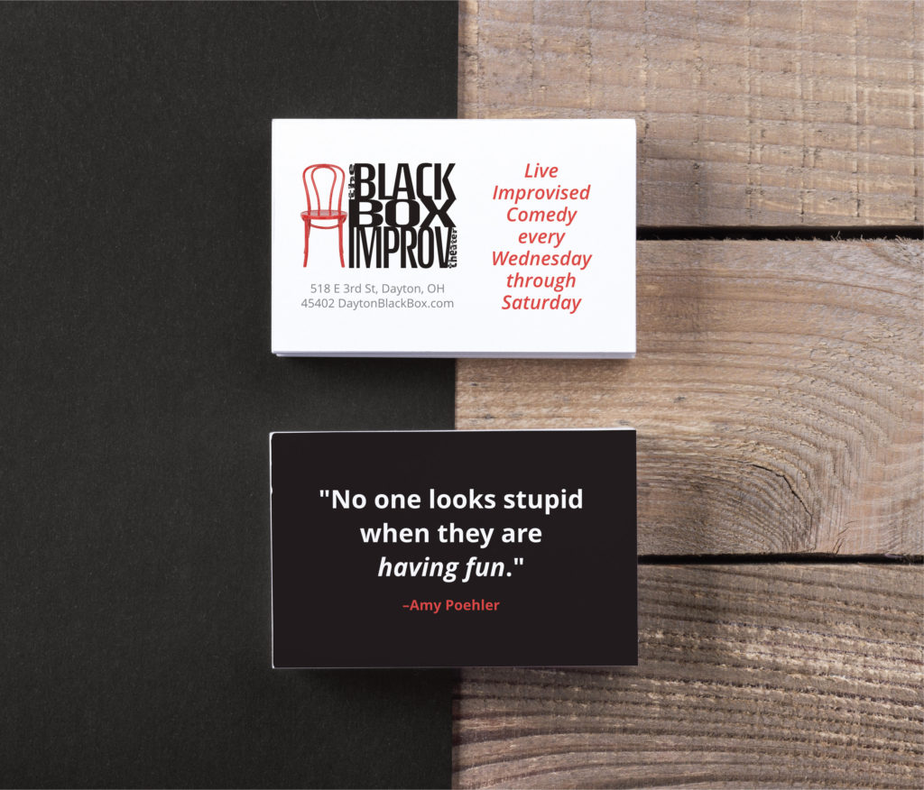 Graphic Design - Black Box Improv Theater Business Cards.