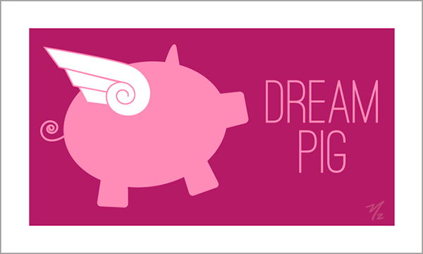 Cute Cards Dream Pig Front