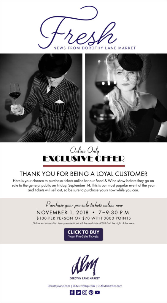 DLM Food Wine Show 20th Anniversary Collateral Email
