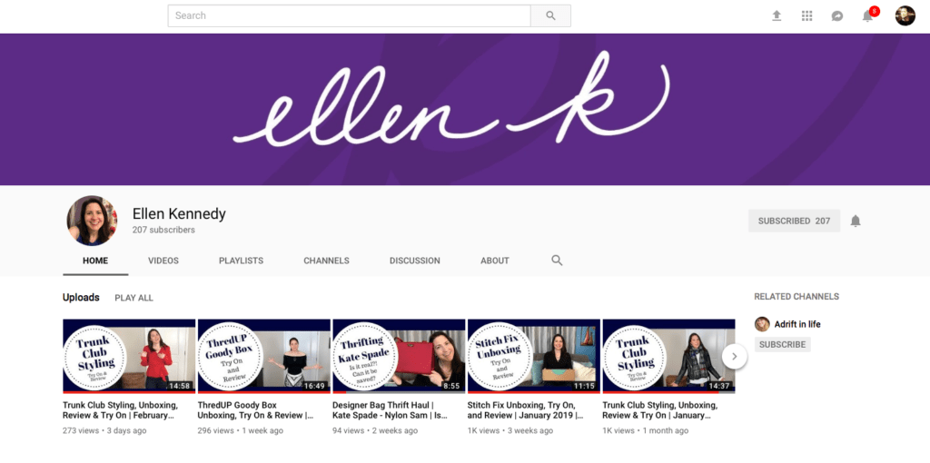 Ellen K Logo Branding YouTube Screenshot
