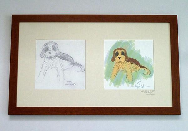 Framed Doggie Pencil Sketch Final Color Render
